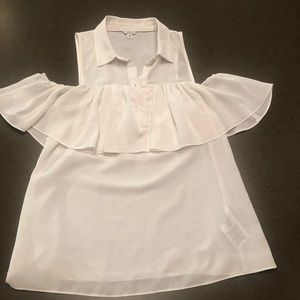 Guess White Cold Shoulder Blouse